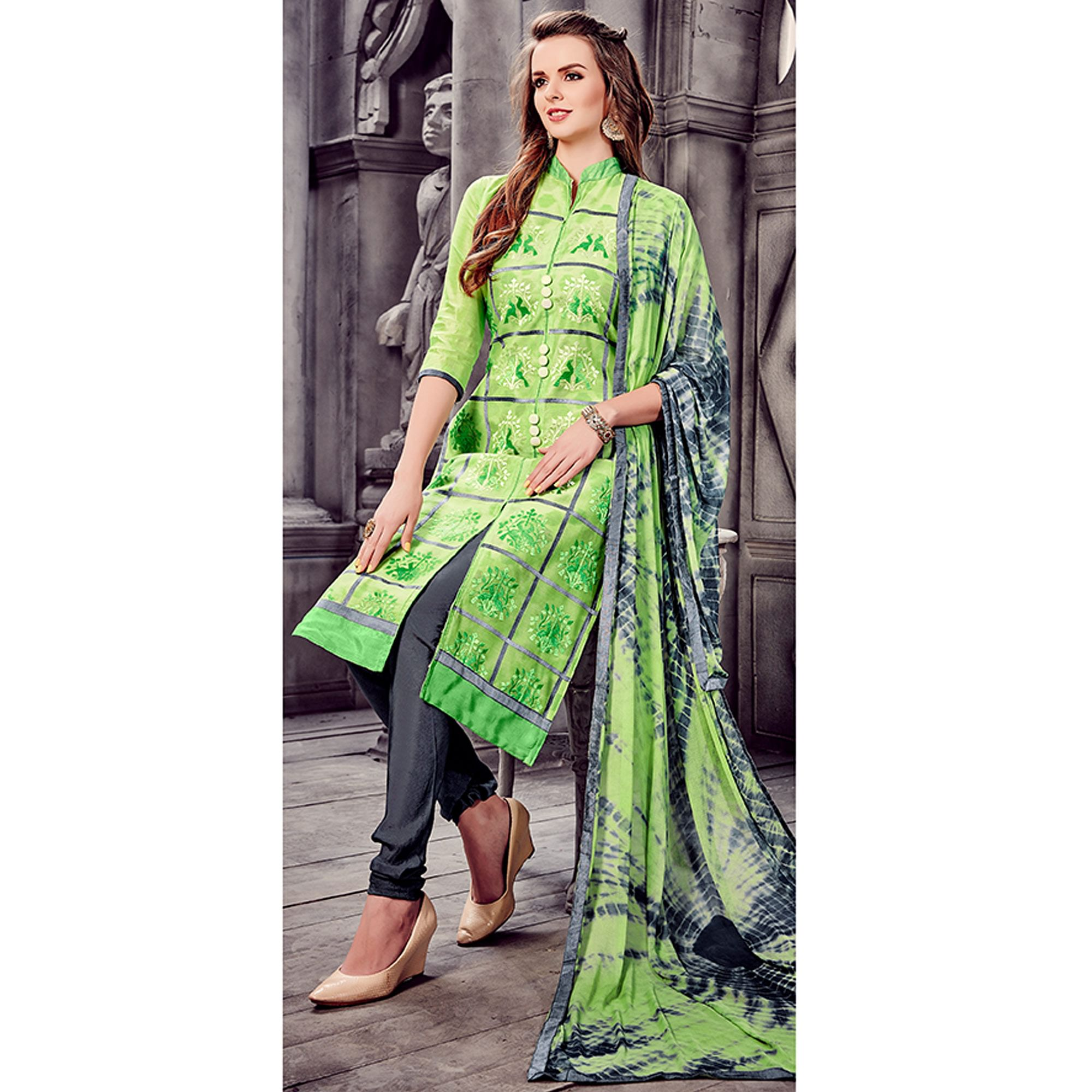 Elegant Green Colored Party Wear Embroidered Cotton Dress Material