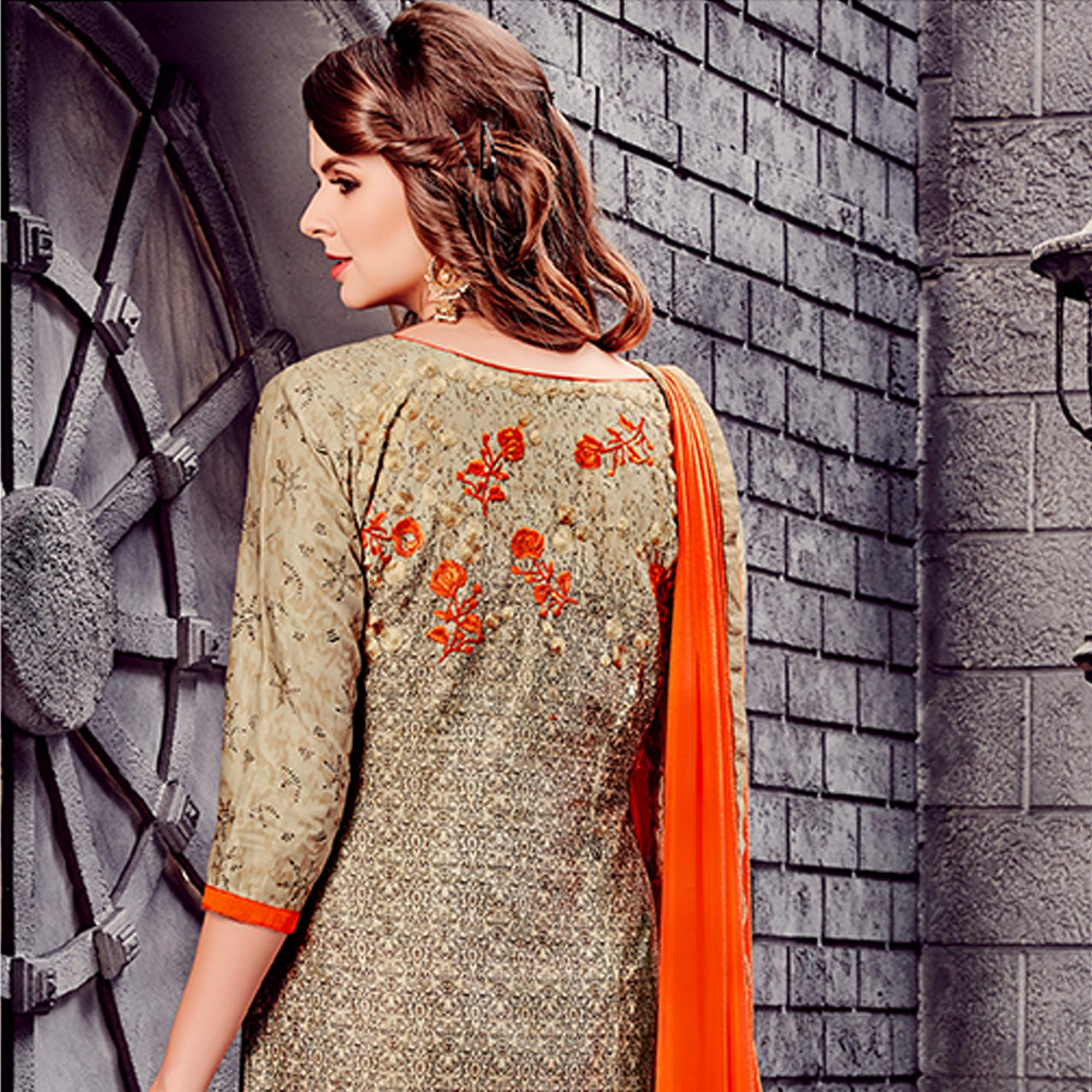 Alluring Beige Colored Party Wear Embroidered Cotton Dress Material