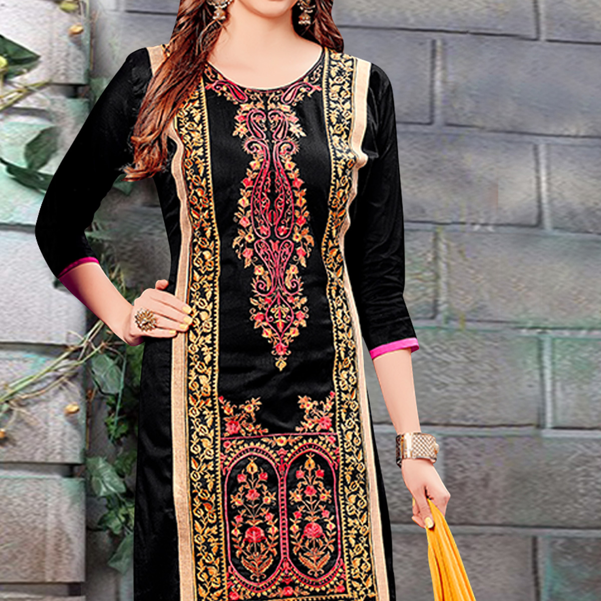Radiant Black Colored Party Wear Embroidered Cotton Dress Material