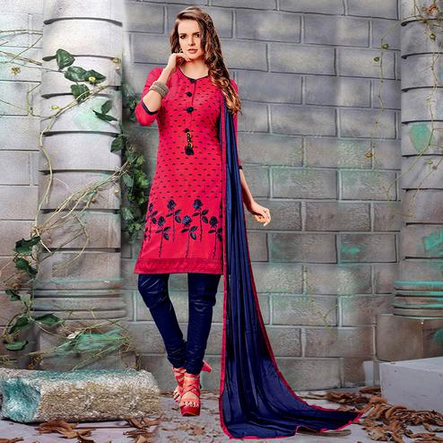 Sensational Deep Pink Colored Party Wear Embroidered Cotton Dress Material
