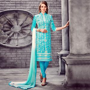 Opulent Sky Blue Colored Party Wear Embroidered Cotton Dress Material