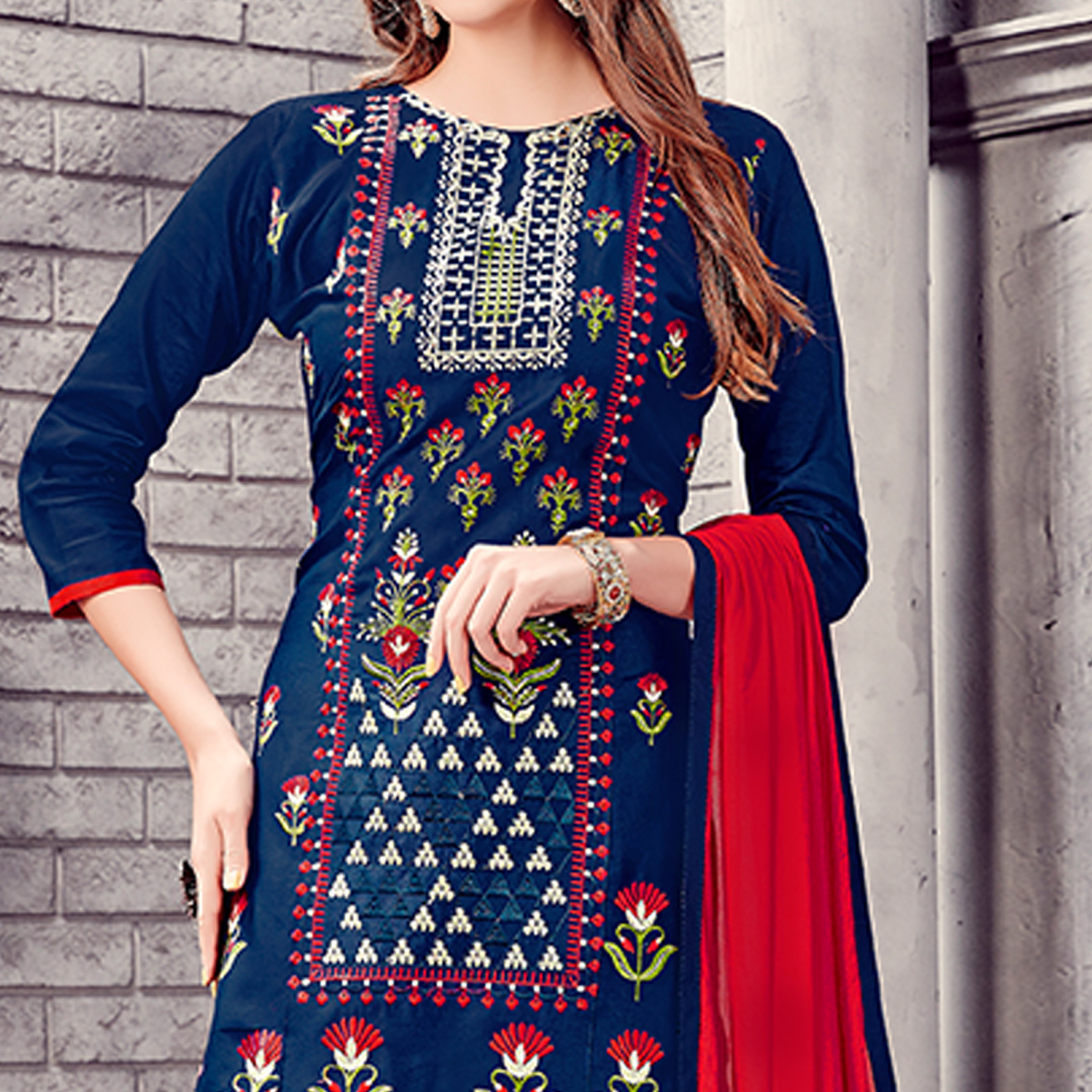 Dazzling Navy Blue Colored Party Wear Embroidered Cotton Dress Material