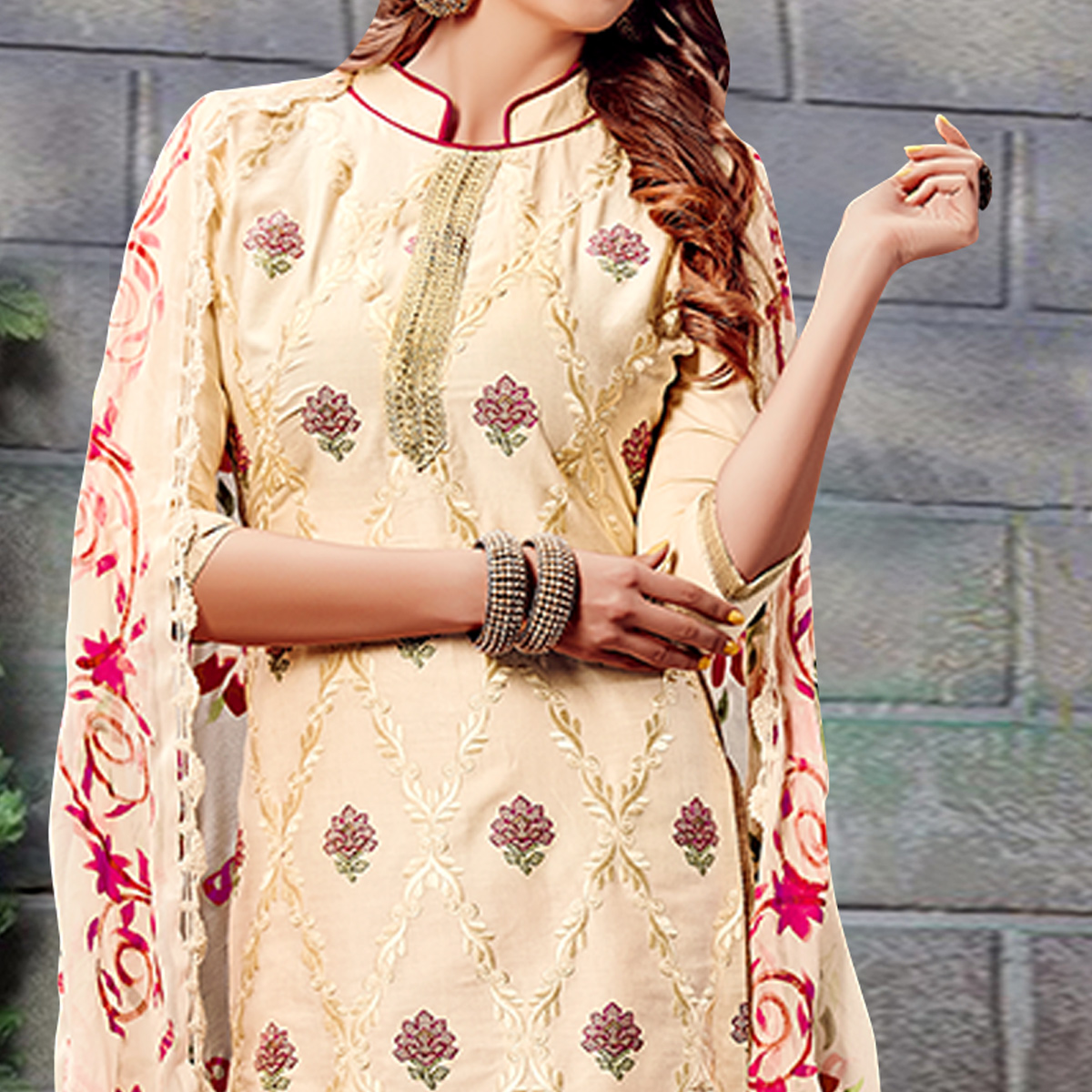 Flattering Cream Colored Party Wear Embroidered Cotton Dress Material