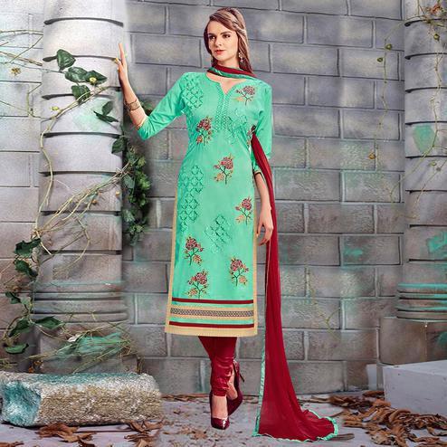 Breathtaking Aqua Green Colored Party Wear Embroidered Cotton Dress Material