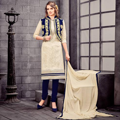 Impressive Cream Colored Party Wear Embroidered Cotton Dress Material