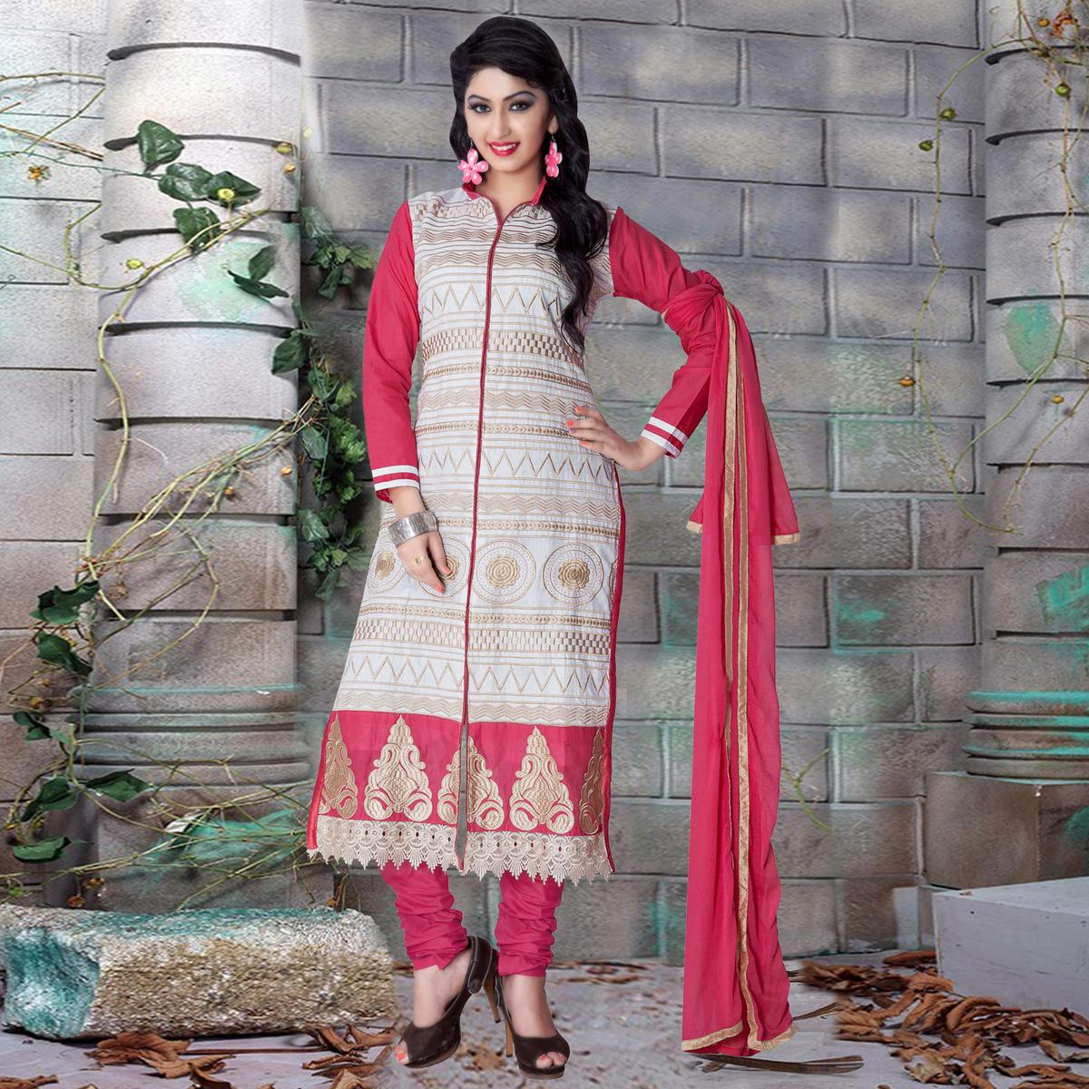 Buy Glorious Off White - Pink Colored Party Wear Embroidered Cotton Dress  Material online India 8bb14a54b