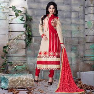 Graceful Beige - Red Colored Party Wear Embroidered Cotton Dress Material