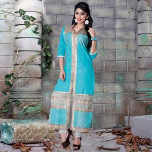 Lovely Sky Blue Colored Party Wear Embroidered Cotton Dress Material