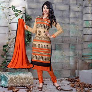 Pretty Beige Colored Party Wear Embroidered Cotton Dress Material
