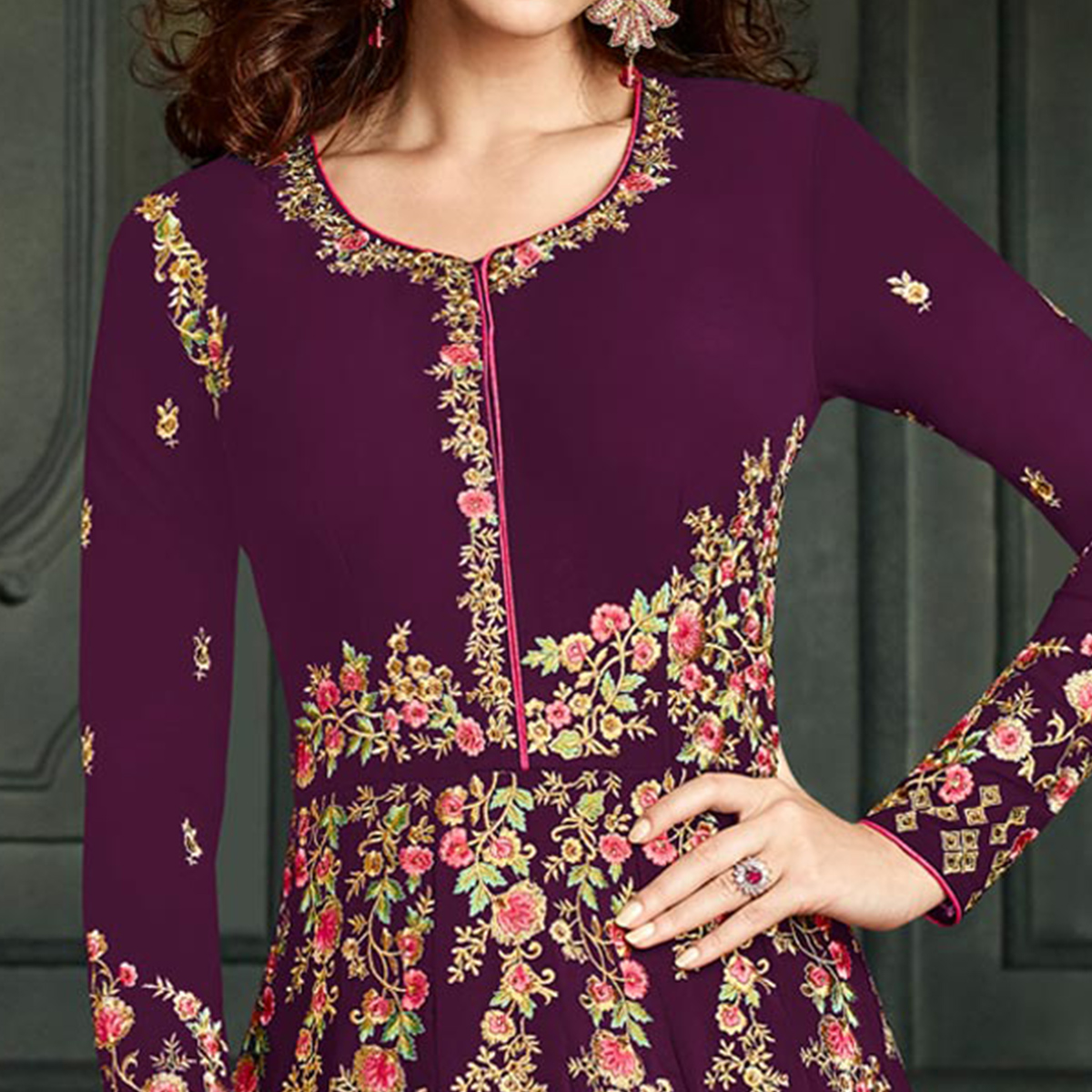 Amazing Purple Colored Party Wear Embroidered Georgette Anarkali Suit