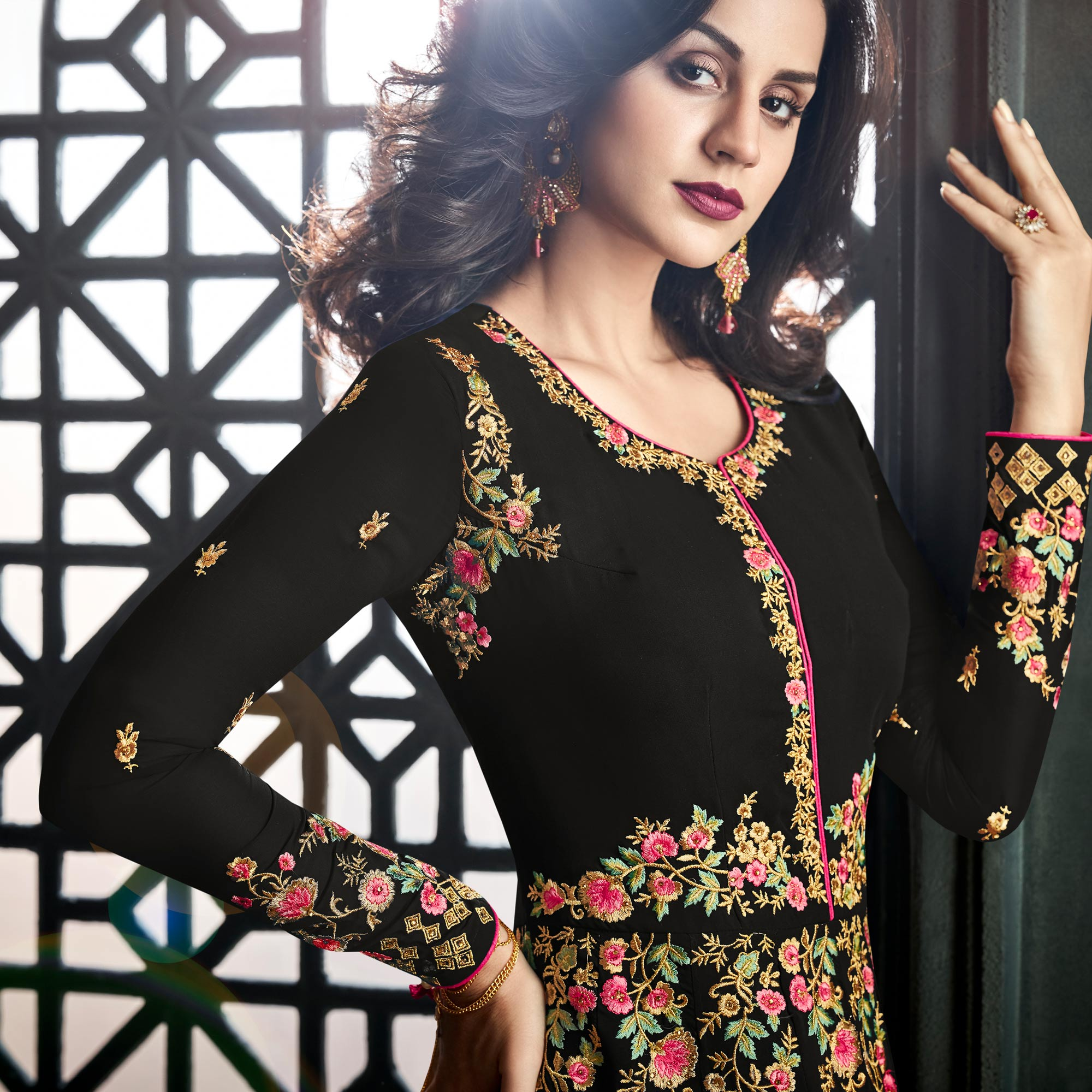 Preferable Black Colored Party Wear Embroidered Georgette Anarkali Suit