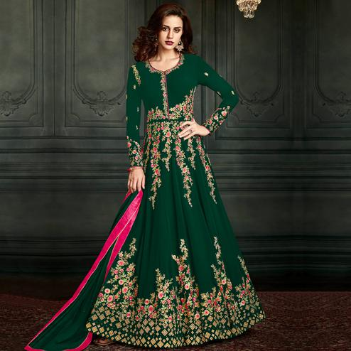Refreshing Green Colored Party Wear Embroidered Georgette Anarkali Suit