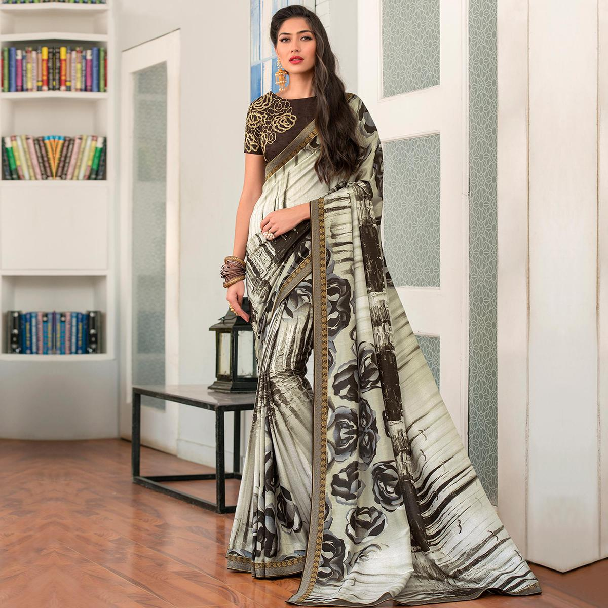Intricate Off White - Brown Colored Party Wear Printed Art Silk Saree