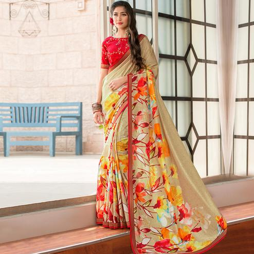 Pleasant Beige Colored Party Wear Printed Art Silk Saree