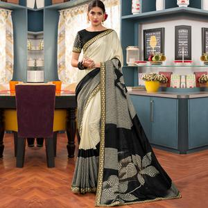 Unique Cream - Black Colored Party Wear Printed Art Silk Saree