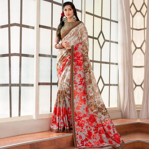 Refreshing Light Grey - Brown Colored Party Wear Printed Art Silk Saree