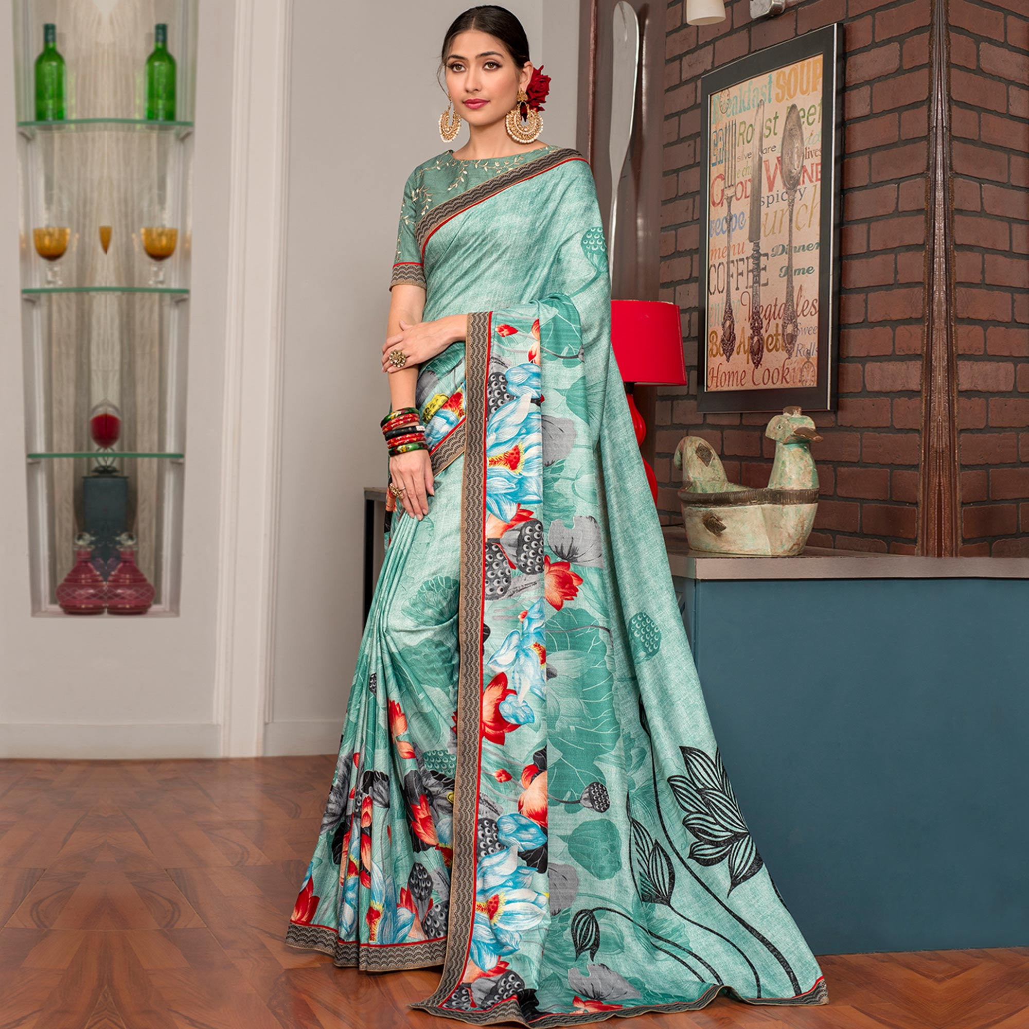 Alluring Turquoise Colored Party Wear Printed Art Silk Saree