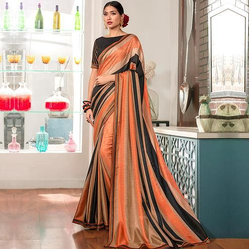 Glowing Light Orange - Black Colored Party Wear Printed Art Silk Saree