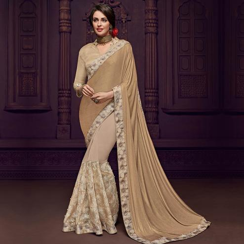 Starring Beige Colored Party Wear Embroidered Fancy Art Silk Saree
