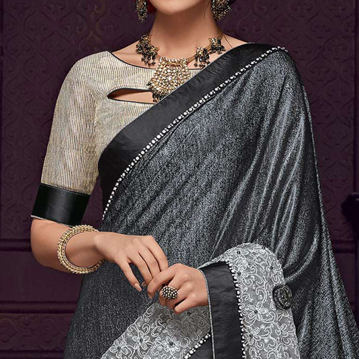 Surpassing Grey Colored Party Wear Embroidered Fancy Art Silk Saree