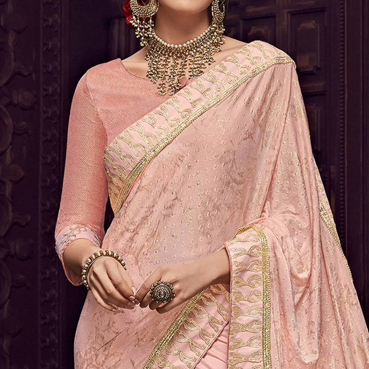 Imposing Pink Colored Party Wear Embroidered Fancy Art Silk Saree