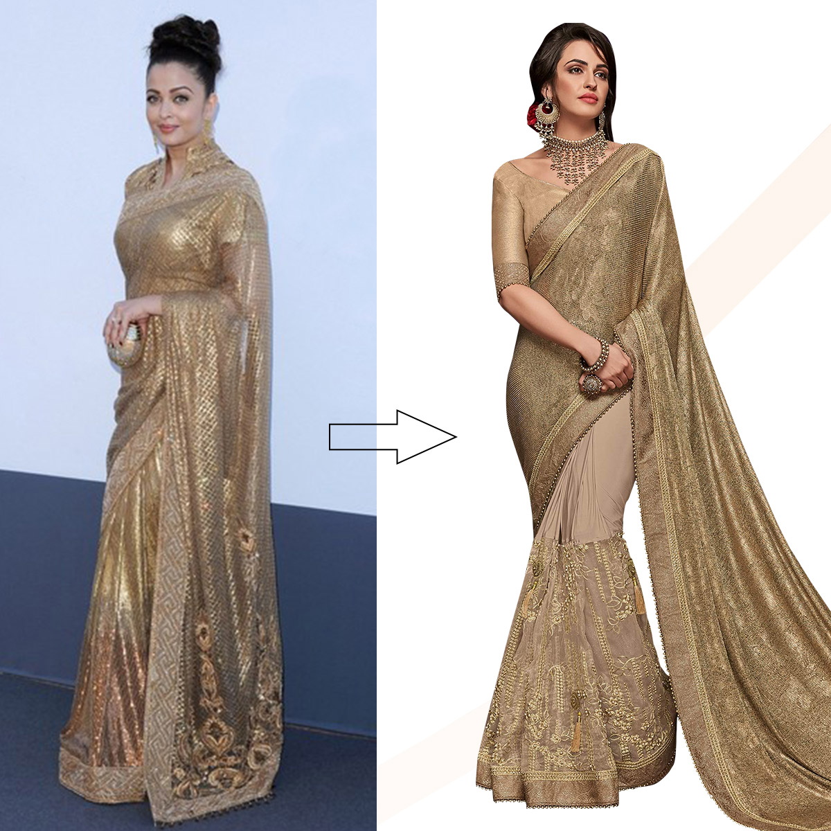 Ideal Gold And Beige Colored Party Wear Embroidered Fancy Art Silk Saree