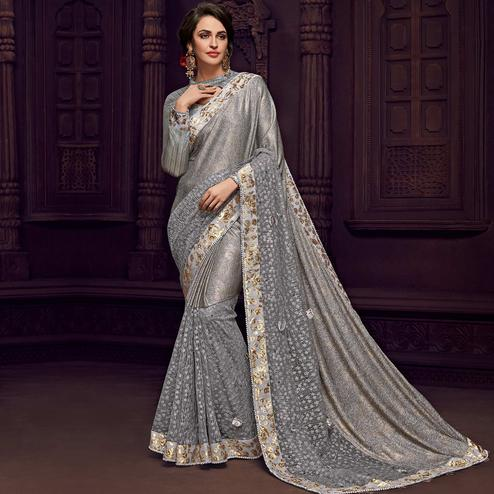 Fantastic Grey Colored Party Wear Embroidered Fancy Art Silk Saree