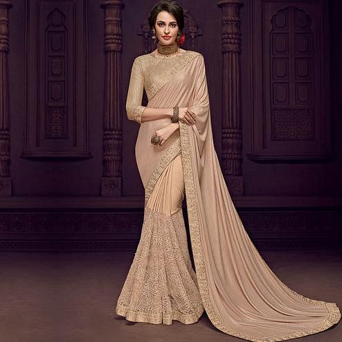 Staring Beige Colored Party Wear Embroidered Fancy Art Silk Saree