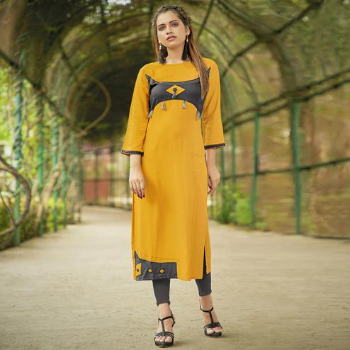 Classy Yellow Colored Casual Wear Rayon Long Kurti