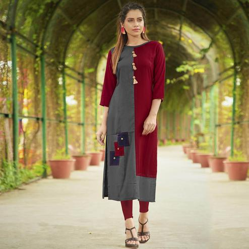 Lovely Gray-Maroon Colored Casual Wear Rayon Long Kurti