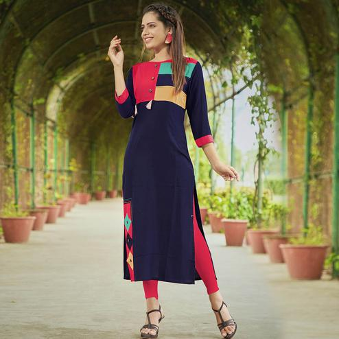 Beautiful Navy Blue Colored Casual Wear Rayon Long Kurti