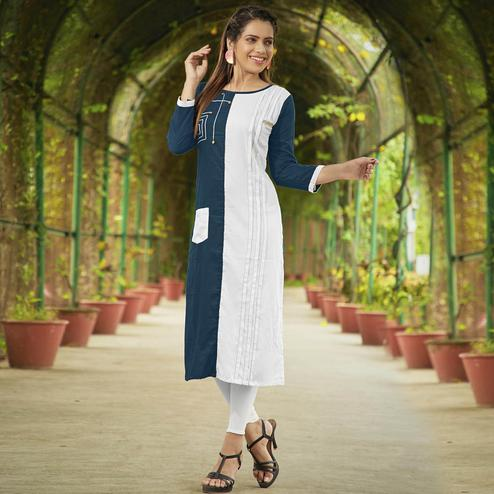 Attractive Blue-White Colored Casual Wear Rayon Long Kurti
