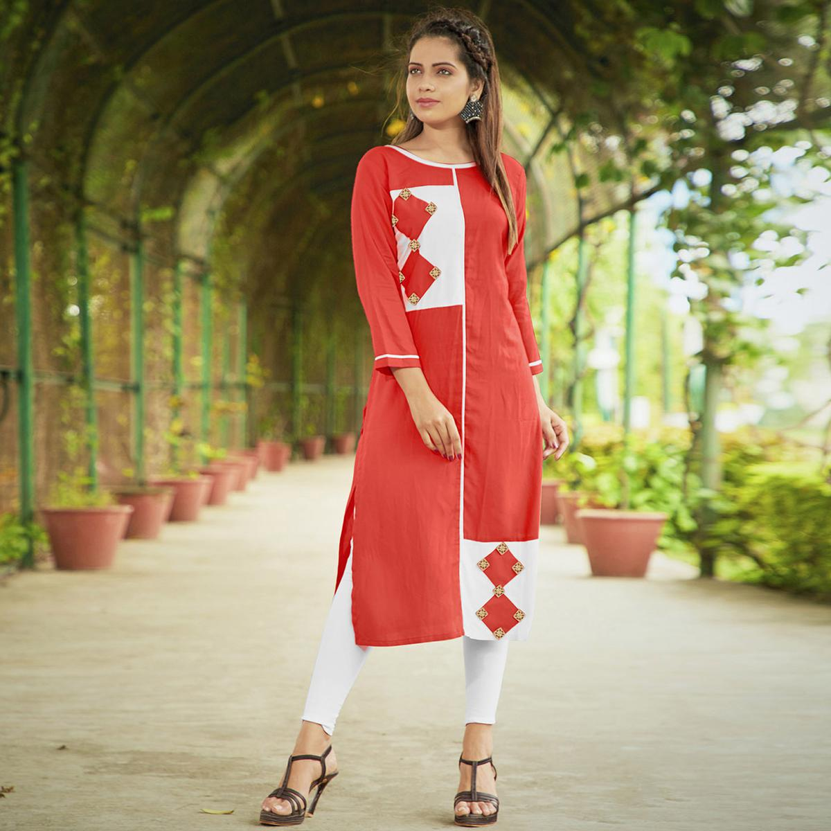 Demanding Dark Peach Colored Casual Wear Rayon Long Kurti
