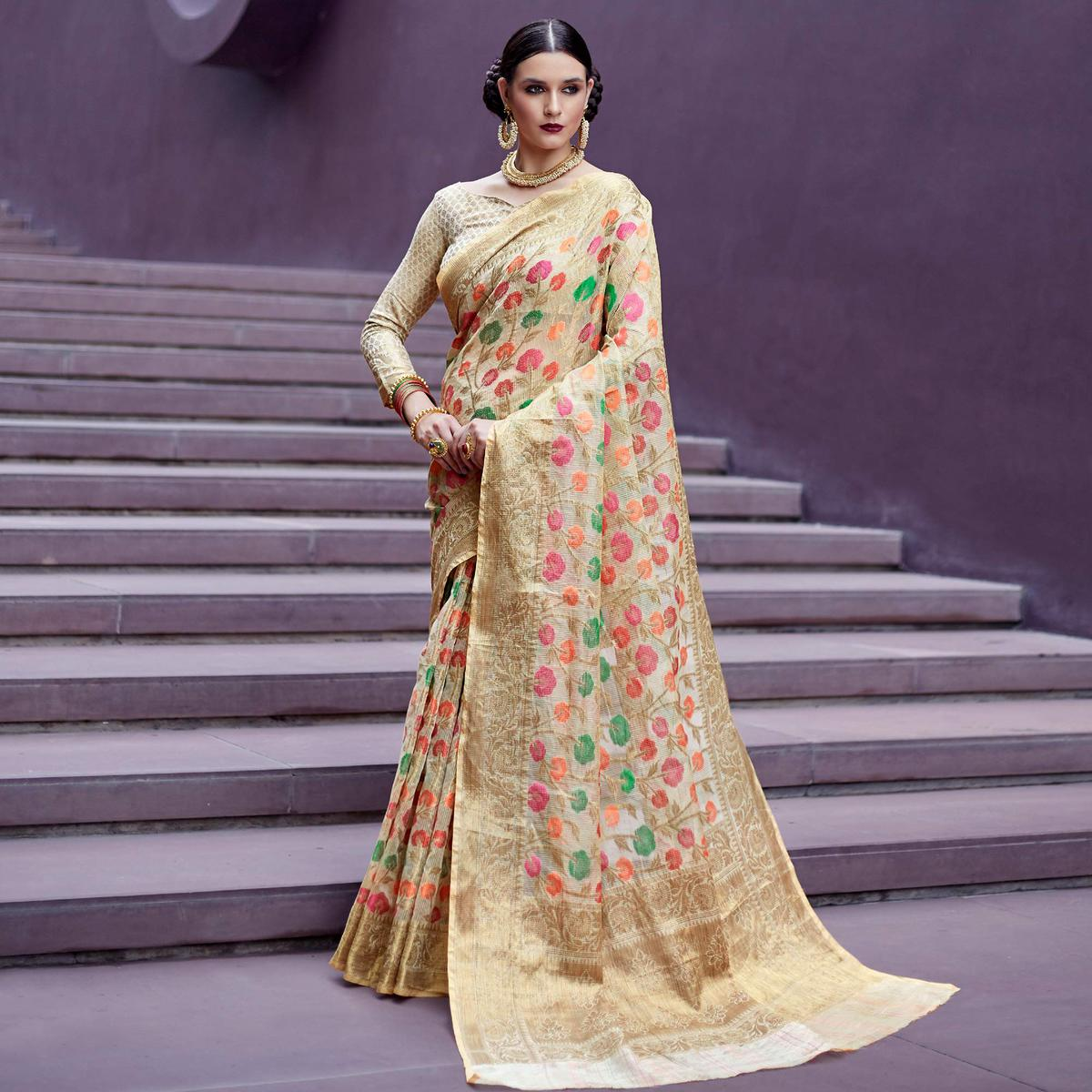 Preferable Beige Colored Festive Wear Printed Silk Saree
