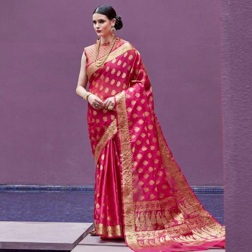 Attractive Dark Pink Colored Festive Wear Printed Silk Saree