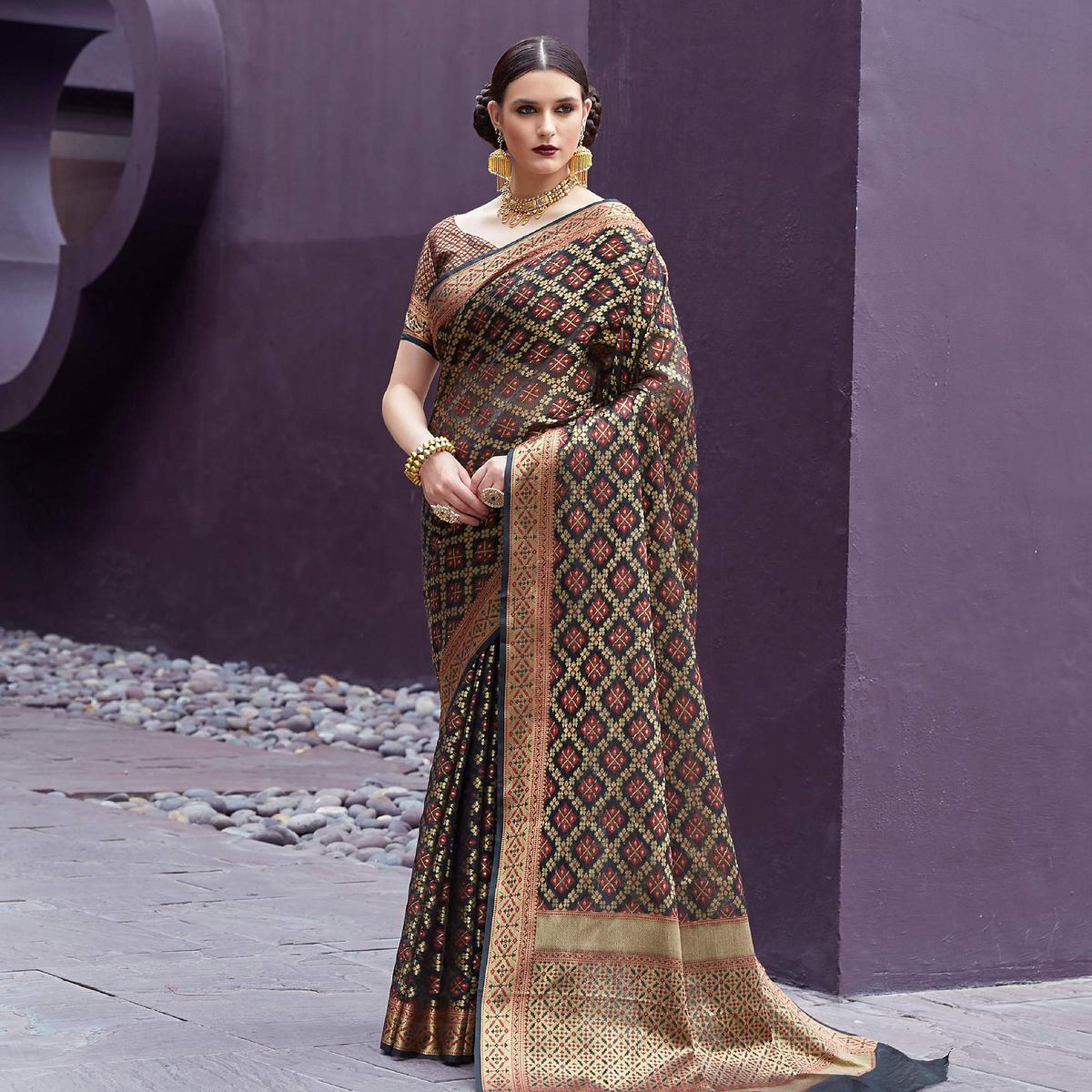 Beautiful Black Colored Festive Wear Printed Silk Saree