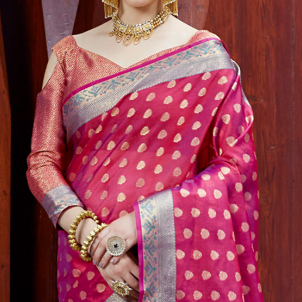 Gorgeous Rani Pink Colored Festive Wear Printed Silk Saree