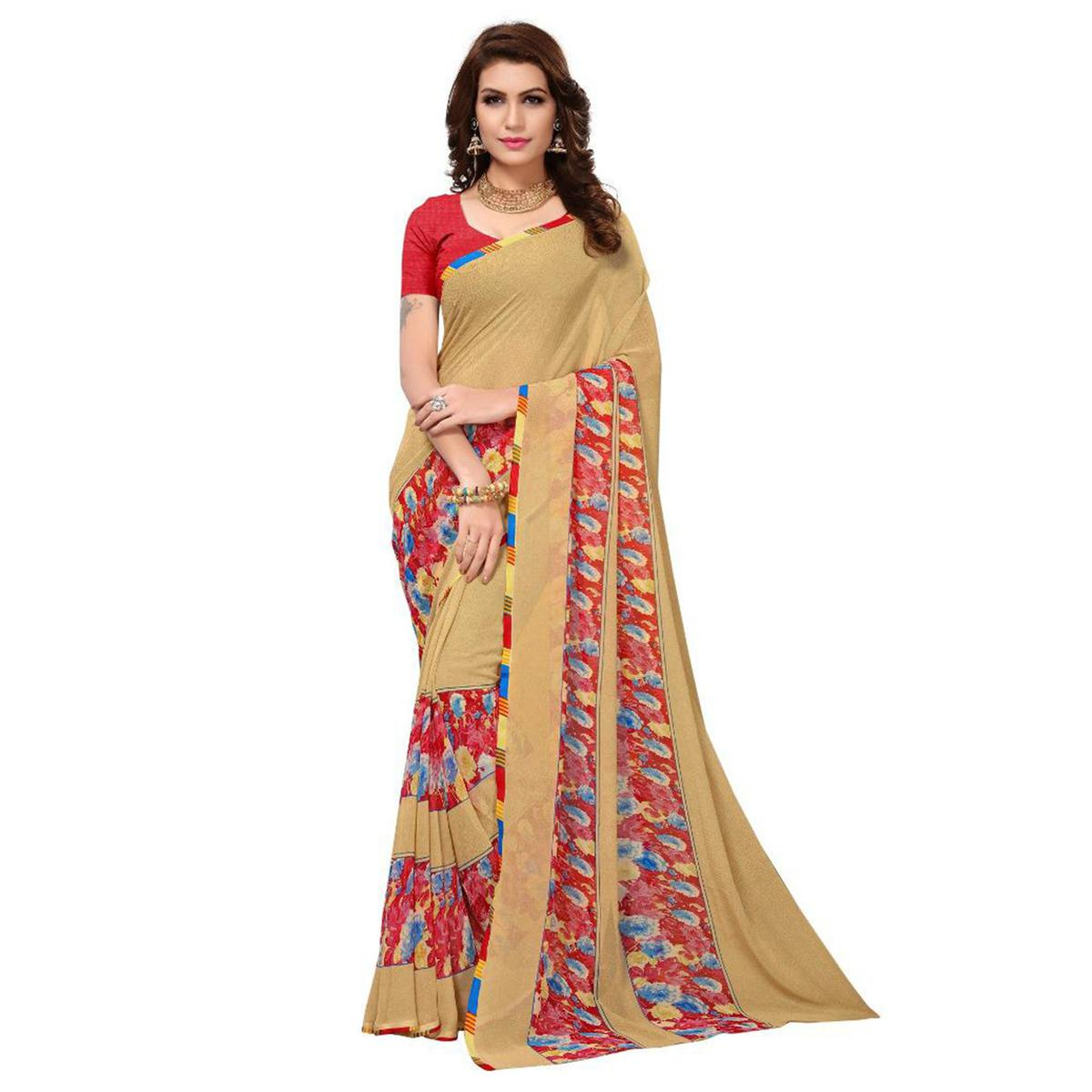 Light Yellow Casual Wear Georgette Saree