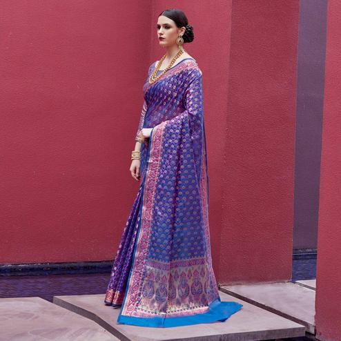 Classy Blue Colored Festive Wear Printed Silk Saree