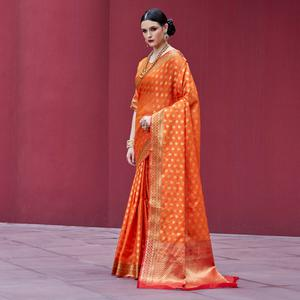 Glorious Orange Colored Festive Wear Printed Silk Saree
