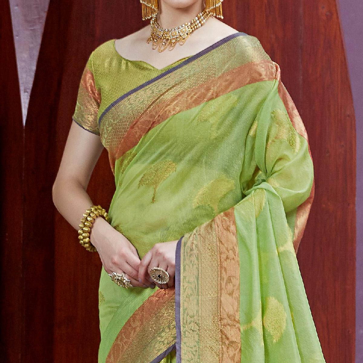 Graceful Green Colored Festive Wear Printed Silk Saree