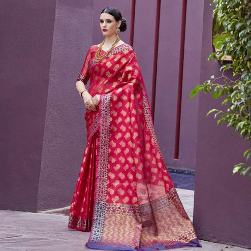 Charming Crimson Red Colored Festive Wear Printed Silk Saree