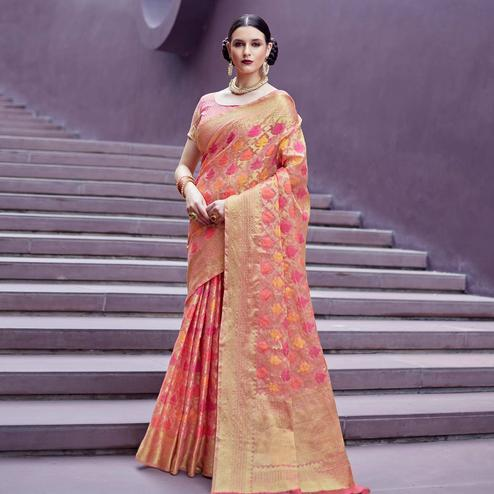Ravishing Pink & Beige Colored Festive Wear Printed Silk Saree