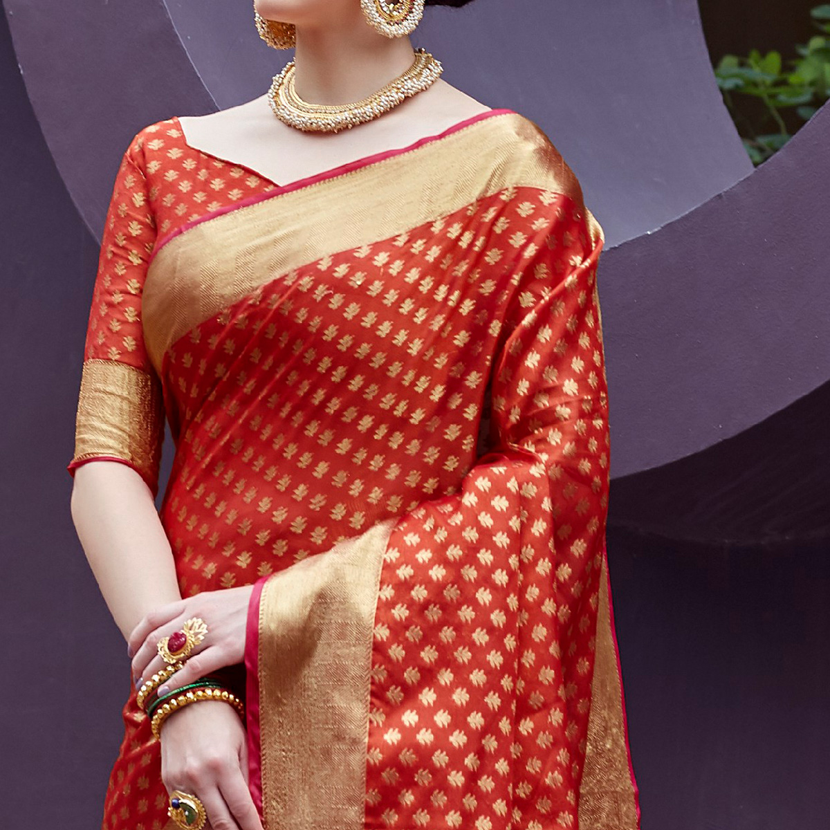 Intricate Red Colored Festive Wear Printed Silk Saree