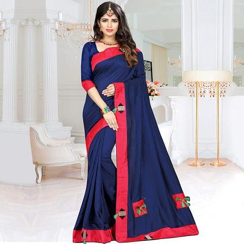 Desirable Navy Blue Colored Party Wear Art Silk Saree