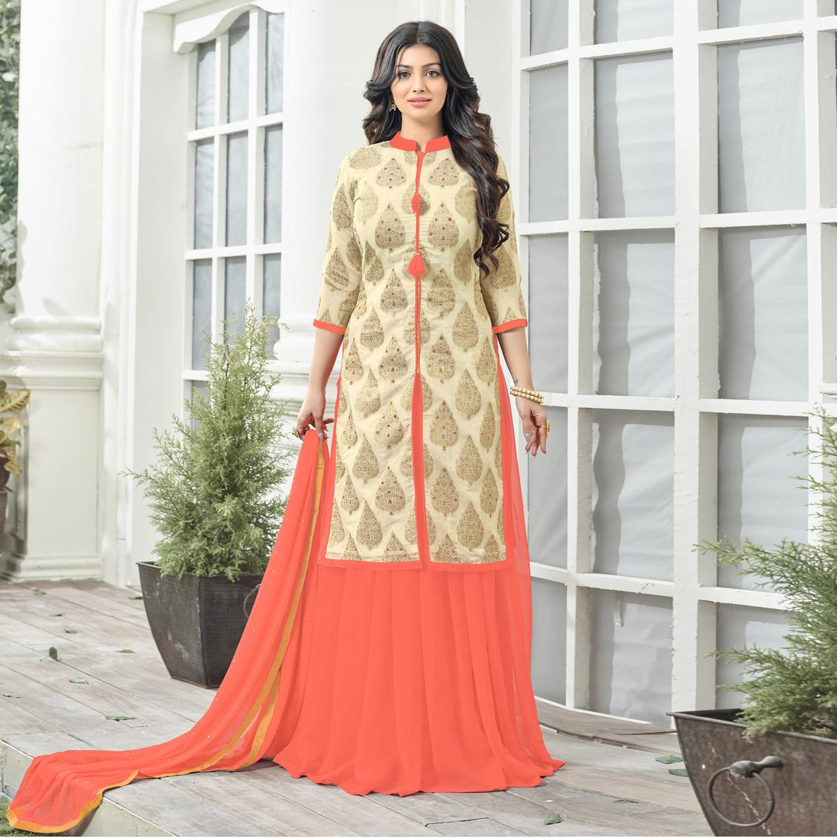 Orange Designer Chanderi Silk & Georgette Lehenga Kameez