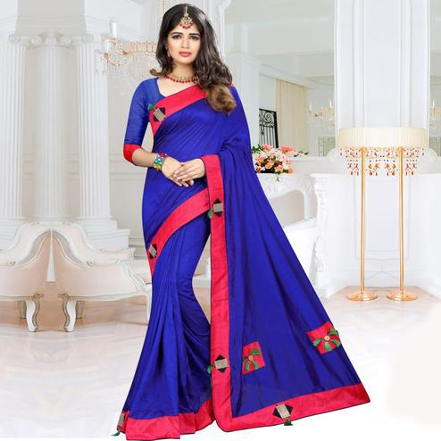 Refreshing Navy Blue Colored Party Wear Art Silk Saree