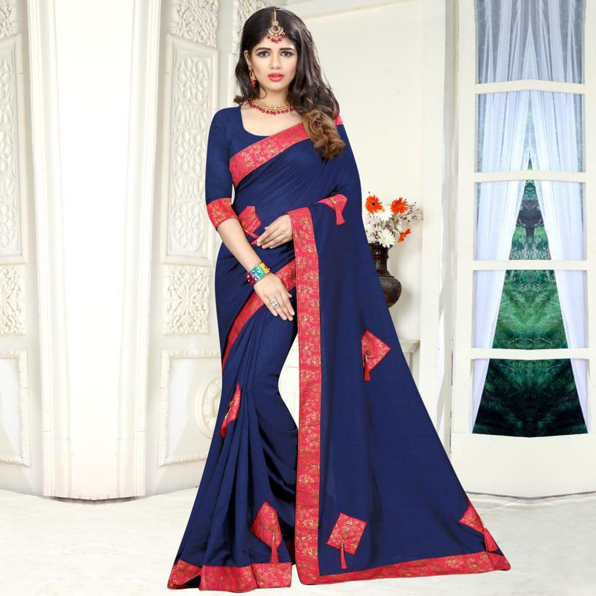 Alluring Navy Blue Colored Party Wear Art Silk Saree