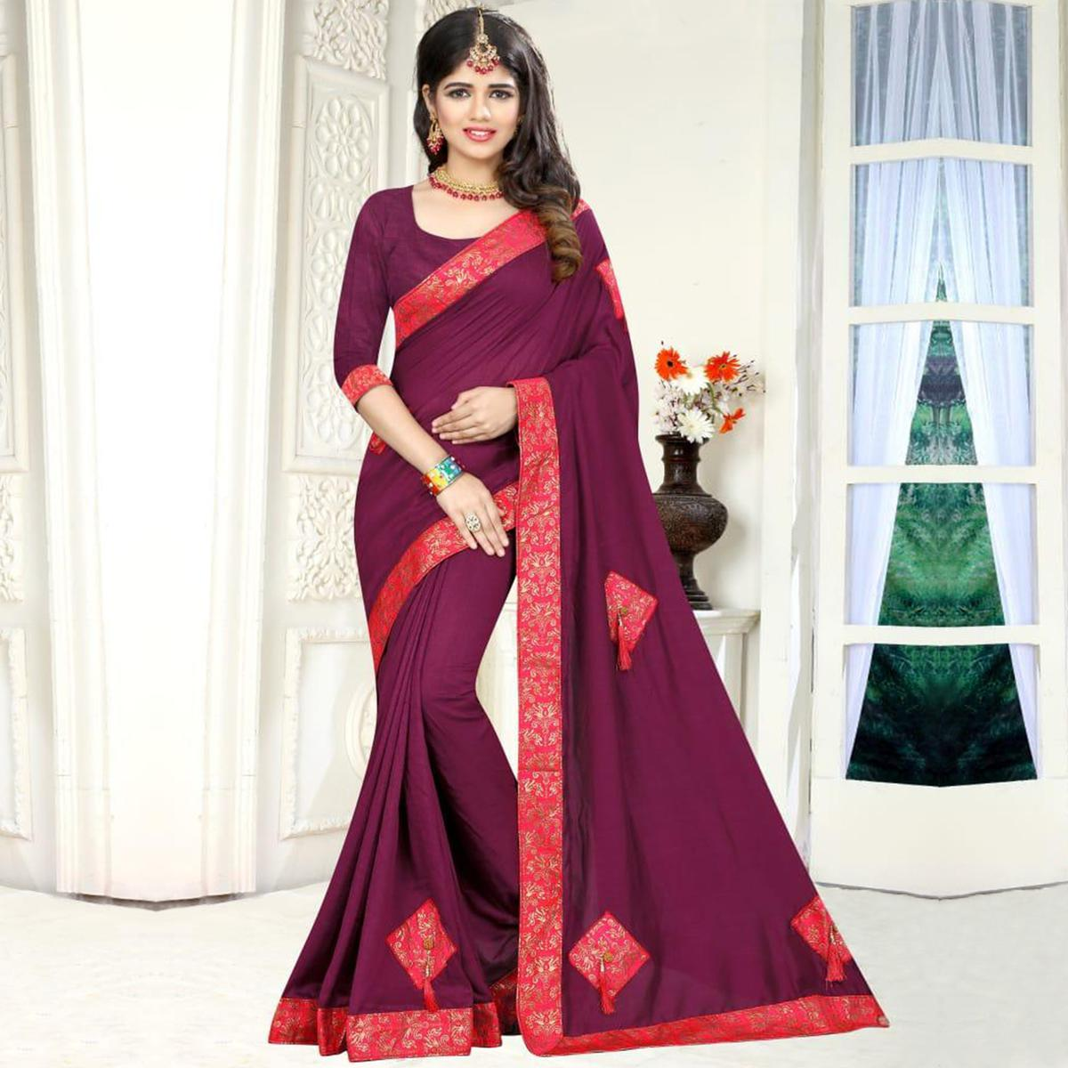 Sensational Wine Colored Party Wear Art Silk Saree