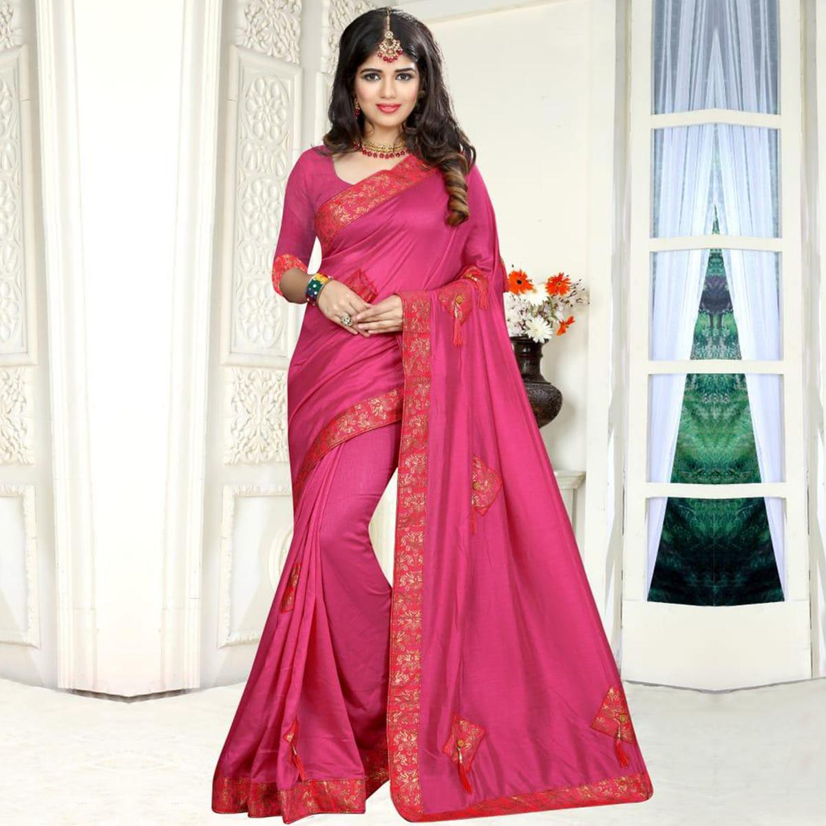 Dazzling Pink Colored Party Wear Art Silk Saree